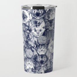 CHRISTMAS CATS blue Travel Mug