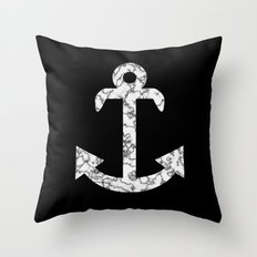 Marble Anchor in Black Throw Pillow
