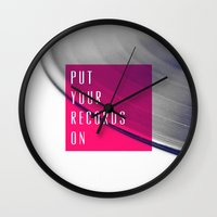 records Wall Clocks featuring Records - Pink by Galaxy Eyes