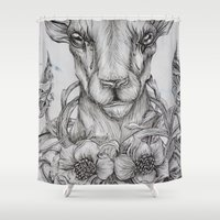 ram Shower Curtains featuring Ram Illustration by TemporarilyYours