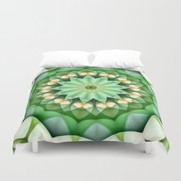 Daisy Green Yellow Kaleidoscope Duvet Cover