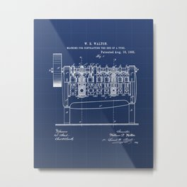 Machine for Contracting the End of a Tube Vintage Patent Hand Drawing Metal Print
