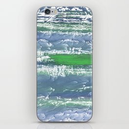 Green Blue clouded wash drawing design iPhone Skin