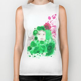 Girl & Water Lily Biker Tank