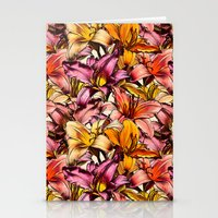 bedding Stationery Cards featuring Daylily Drama - a floral illustration pattern by micklyn