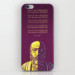 Lao Tzu Inspirational Quote: Watch your thoughts iPhone Skin