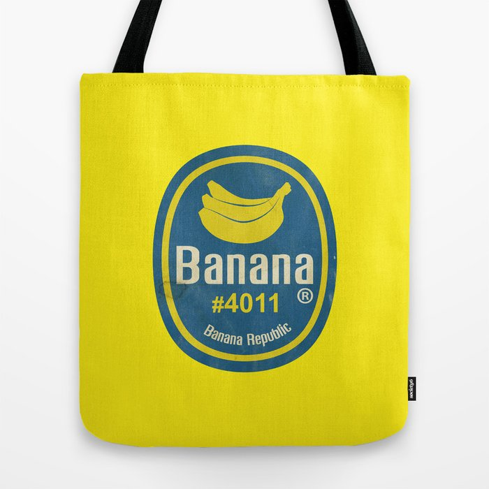 Banana Sticker On Yellow Tote Bag