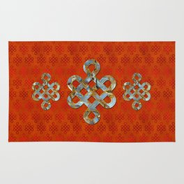 Decorative Marble and Gold Endless Knot symbol Rug
