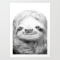 sloth Art Prints featuring Sloth by Eric Fan