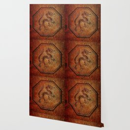 Distressed Chinese Dragon In Octagon Frame Wallpaper
