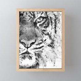 Black And White Half Faced Tiger Framed Mini Art Print