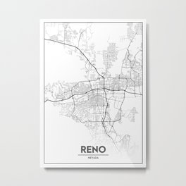 Minimal City Maps - Map Of Reno, Nevada, United States Metal Print