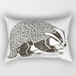 Climbing Badger Lino Print Rectangular Pillow