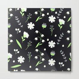 Agender Pride Simple Mixed Flowers Pattern Metal Print