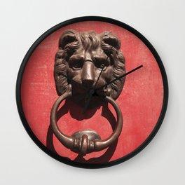 Red Door with Lion head  Wall Clock