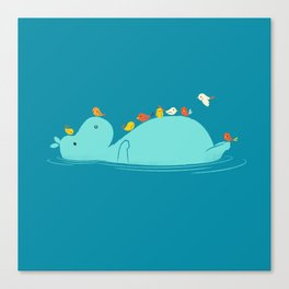 Floating Hippo Canvas Print