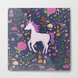 Be Magical Unicorn Pattern in a Garden Metal Print