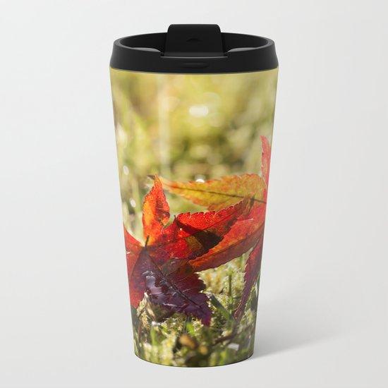 Indian Summer II Red marple leaves in wet grass at backlight Metal Travel Mug