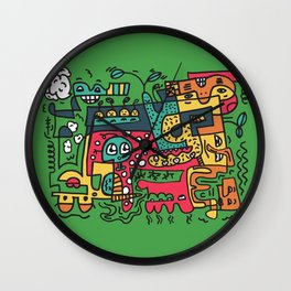 Green Doodle Monster World Wall Clock