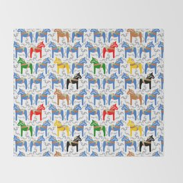 Dala Horse pattern Throw Blanket