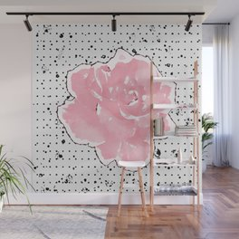 Peachy Rose Plant Floral Watercolor / Watercolour Coral Grunge Black & White Dots & Paint Splatter Wall Mural