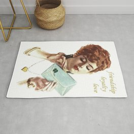 Beautiful Young Woman Holding Love Letter Vintage Vector Rug