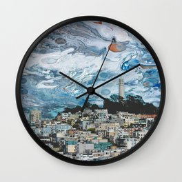 Starry Coit Tower Wall Clock