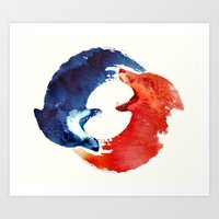 ying yang Art Prints featuring Ying yang by Robert Farkas