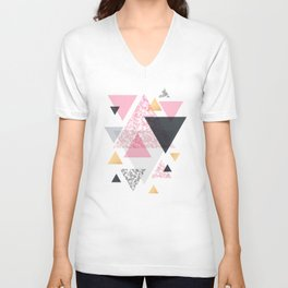 Multi Triangle - Rose Gold and Marble Unisex V-Neck