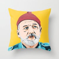 steve zissou Throw Pillows featuring Steve Zissou by Jeroen van de Ruit