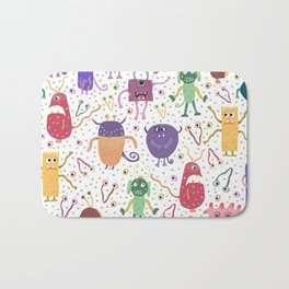Colorful Friendly Monsters Bath Mat