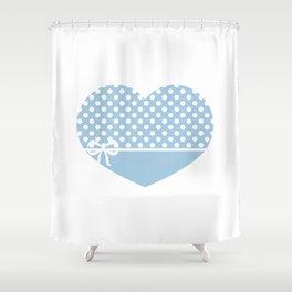 Heart &Ribbon-blue Shower Curtain
