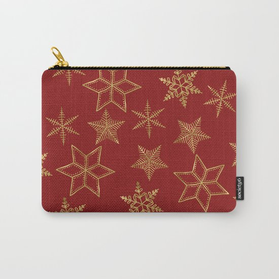 Snowflakes Red And Gold Carry-All Pouch