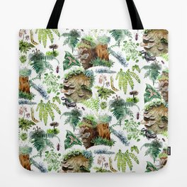 Mossy Forest Pattern White Tote Bag