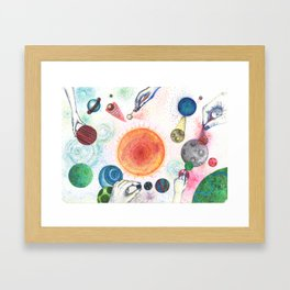 the universe in dots (pointillism) Framed Art Print