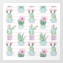 Cute Potted Cacti Stripe Pattern Art Print