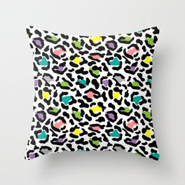 Stylize colorful leopard spots pattern Throw Pillow