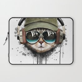 Watercolor cat listening a music illustration. Laptop Sleeve