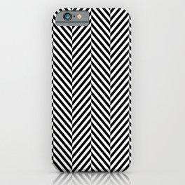 Classic Black & White Herringbone Pattern iPhone Case