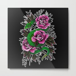 Neo-traditional Snake and Roses Metal Print