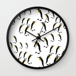 King Penguins, Emperor Penguins of Antarctica on White Wall Clock