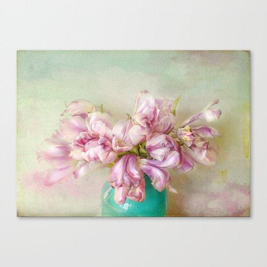 bouquet tulips in blue vase Canvas Print