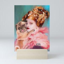 Lady with a Pug  Mini Art Print