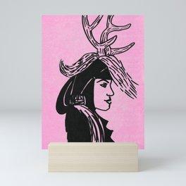 Deer Woman - Pink Palette Mini Art Print