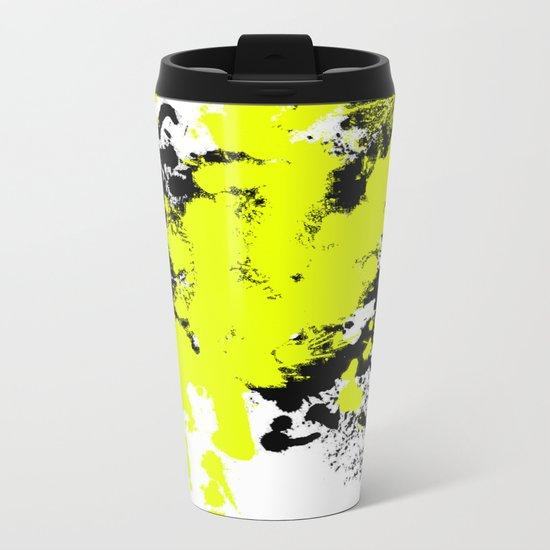 Surprise! Black and yellow abstract paint splat artwork Metal Travel Mug