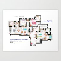 Apartments of Will Truman, Grace Adler and Jack - Floorplan Art Print