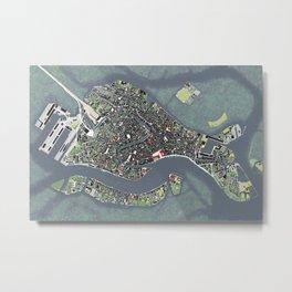 Venice city map engraving Metal Print