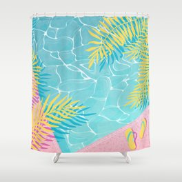Tropical pool chill Shower Curtain