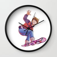 mcfly Wall Clocks featuring Mcfly on Hoverboard by senseidani