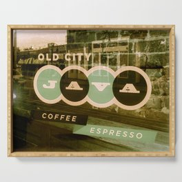 Old City Java Sign in Mint Serving Tray